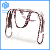 Sewing pvc handle bags for shopping/High quality pvc handle bags with zip lock/pvc cosmetic bags for women