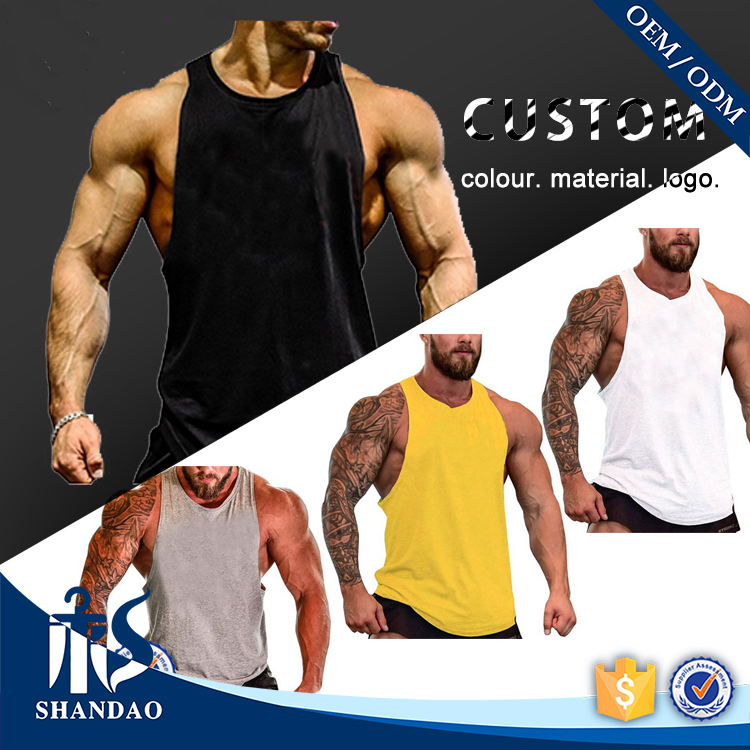 Guangzhou Shandao OEM Custom Sport Gym Cheap Price 120g100% Cotton Men Stringer Tank Top