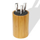 Round universal bamboo knife holder block with Non-skid Rubber Feet