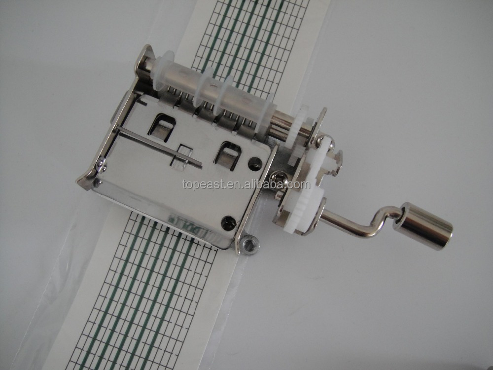 Hand crank 15 notes paper tape music box
