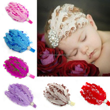 C63 New Baby Kids Infant Flower Elastic Hair Band Peacock Feather Lace Headband