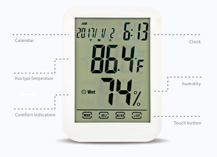 New large touch screen digital thermo- hygrometer luminous clock digital thermometer for Household or office use