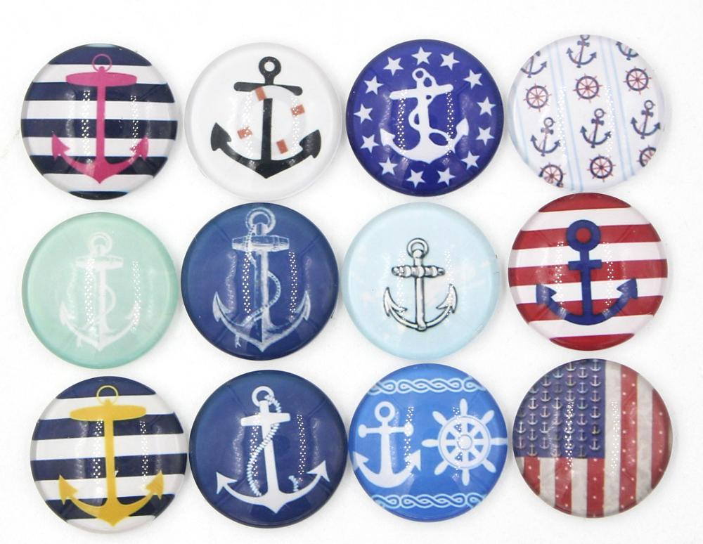 Wholesale DIY 18mm Cabochon Glass Button Nautical Anchor Button for Interchangeable Snap Bracelet Necklace Ring Earring Jewelry