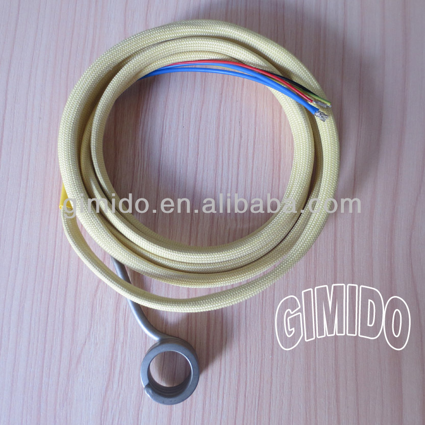 "Hot Runner Coil Heater With Gold Kevlar Sleeve <strong>Manufacturer</strong>, 5/8"" ID, 1/2"" Height , 120V 250W, WIth Thermocouple Type <strong>K</strong>"