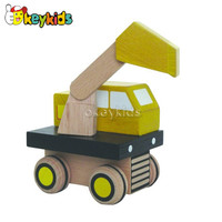 2016 wholesale kids wooden excavator toy, new design baby wooden excavator toy, hottest wooden excavator toy W04A092