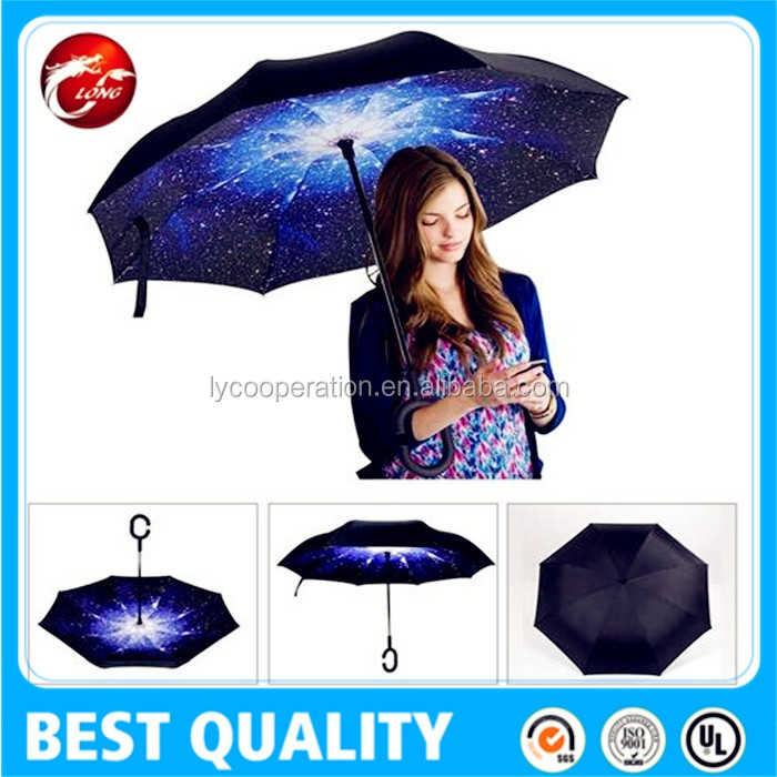C-Handle Double Layer Umbrella Windproof Folding Inverted Upside Down Reverse