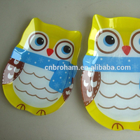 Owl-shape glass kitchen accessories plate decoration
