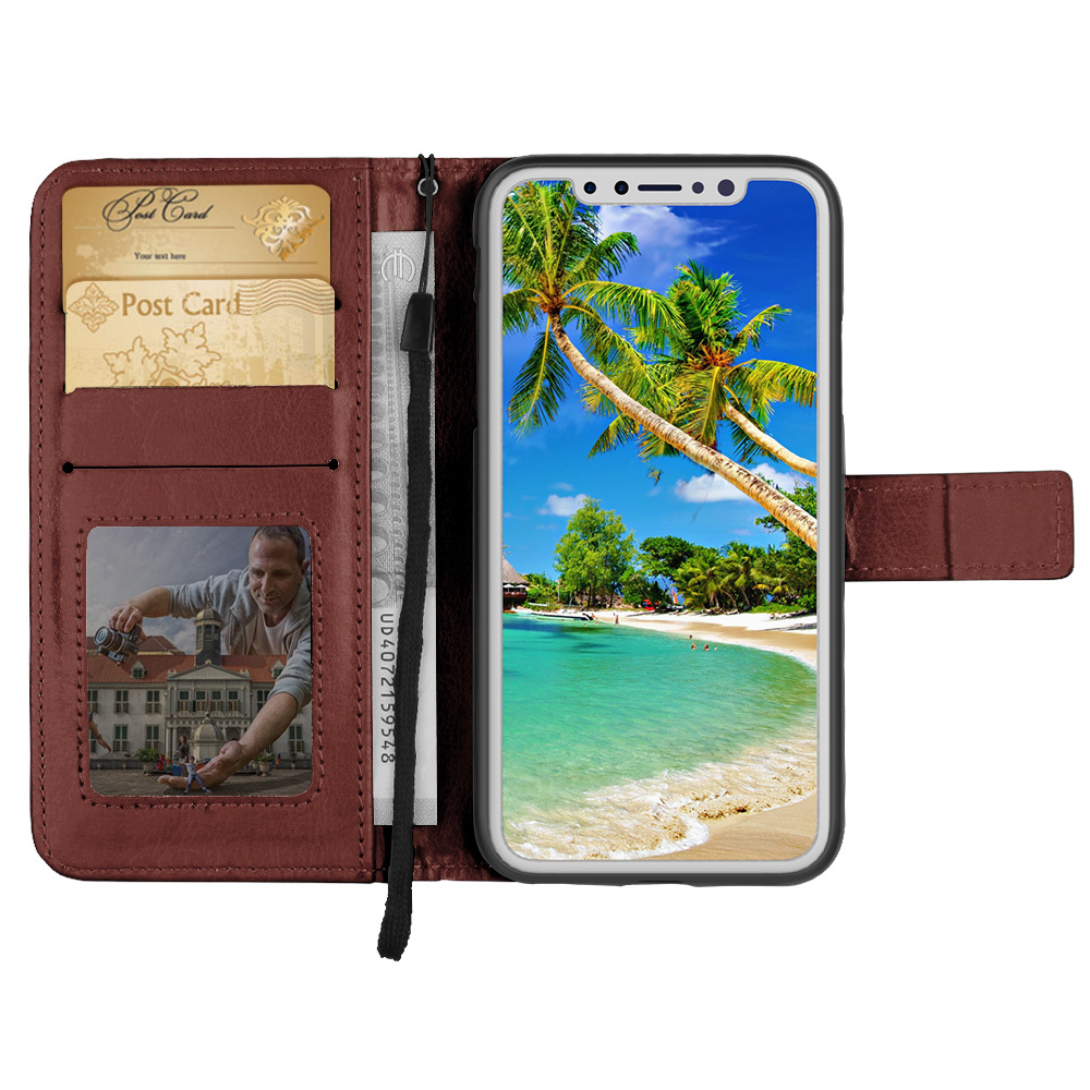 Nice looking Leather Stand Flip Magnetic Detachable Wallet Case for iPhone X Case Cover