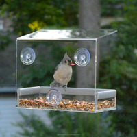 Clear Acrylic Tranquility Window Bird Feeder Glass Mount Seed Holder