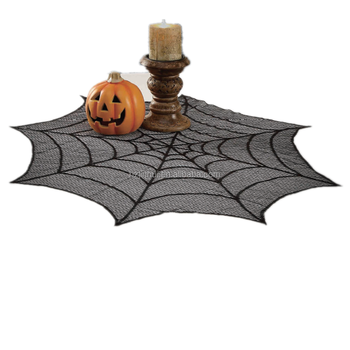 Spider web Round Table Topper Halloween Lace table cloth 30inch Round