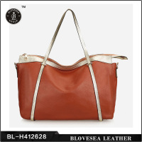 Hot Sale OL Style No Name Brand Real Large Soft Leather Handbags