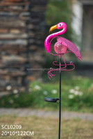 SCL0209 metal flamingo solar powered outside led lights with cracked glass ball