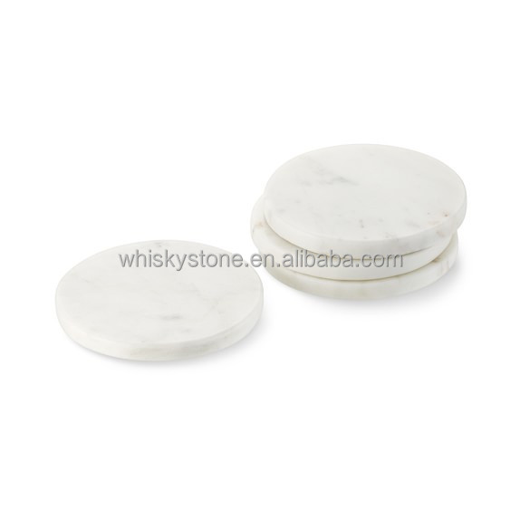 Wholesale Natural Stone Italian White Bianco Carrara Marble Cup Coaster