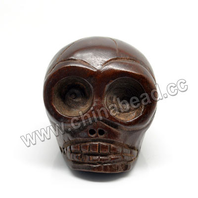 Popular big eye skull carved wood beads brown wooden beads for jewelry making