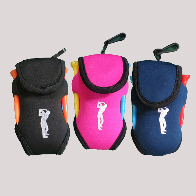Multipurpose golf tool bag carrying 2 balls and 4 tees for promotion