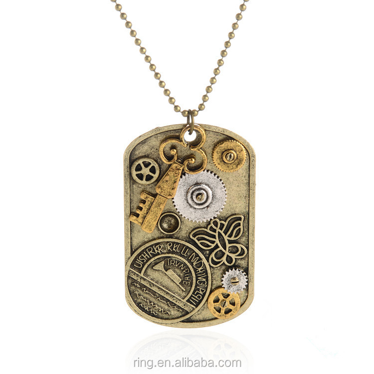 Steampunk Dog Tag Necklace Collage Pendant Watch Gears Cogs Key Butterfly Necklace