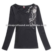 2014 long sleeve big size embroidery V neck t shirt women
