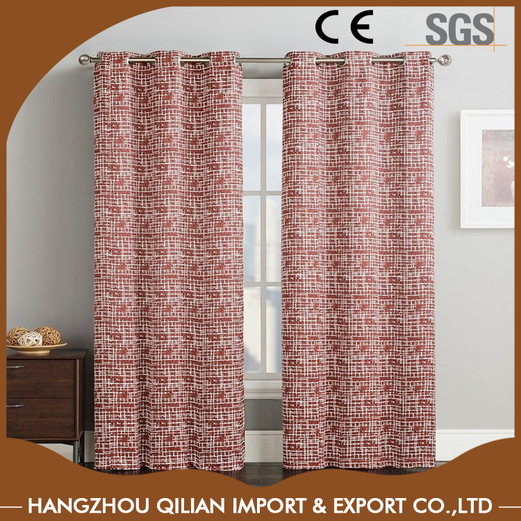 Thermal room-darkening block out line-pattered jacquard textured weave curtain