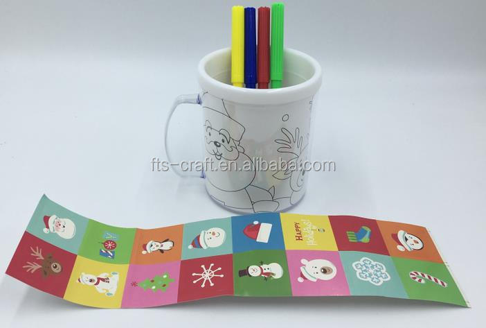 Wholesale Colour Your Own DIY Plastic Mug for kids Craft and insert paper drawing mugs