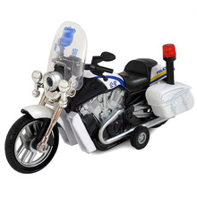 Motorcycle toys with sound and light pull back function high performance 1:16 scale music police diecast metal model car toy