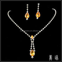 New Fashion Bridal Bridesmaid Wedding Brown Crystal Necklace and Earring Jewelry Sets TL0443