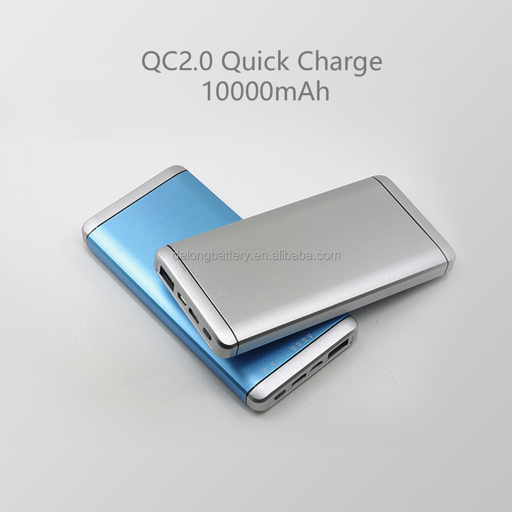 Type-c qc2.0 quick charge slim 10000mah power bank charger
