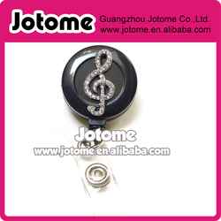 Rhinestone Retractable Badge Reel ID Badge Holder - Music Note Musical Symbol G clef