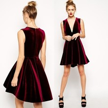 Christmas sales promotion occasion dress mini red velvet evening dresses
