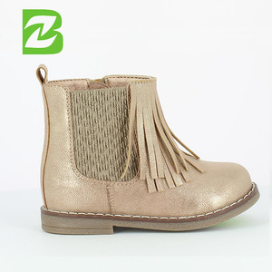 Gold Baby Snow Ankle Tassel Children Boots Shoes
