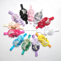 2015 Newest baby flowers crown with diamond headband Fashion turban headband