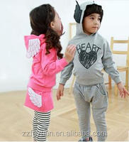 new arrival spring cotton terry casual long sleeve angel wings hoodies sets for gitl and boy