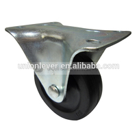 Rigid 3 inch solid small rubber wheels narrow plate type galvanized fixed caster wheel castor