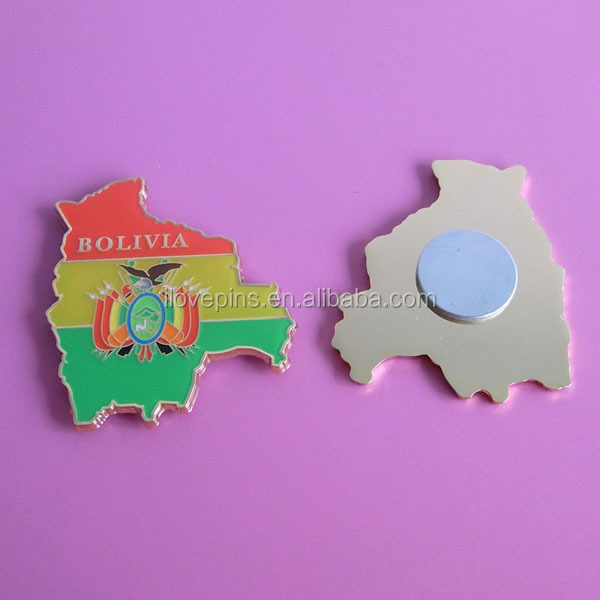 Wholesale Custom Bolivia Map Metal Fridge Magnets/Metal Sticker Fridge Magnet