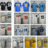 Robin Yount Jersey 1982 Retro Blue White Pinstripe Milwaukee Brewers Jerseys Throwback