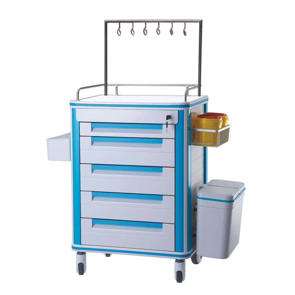 Hospital Nurse Trolley Cart with Drawers ABS Rolling Medical Cart