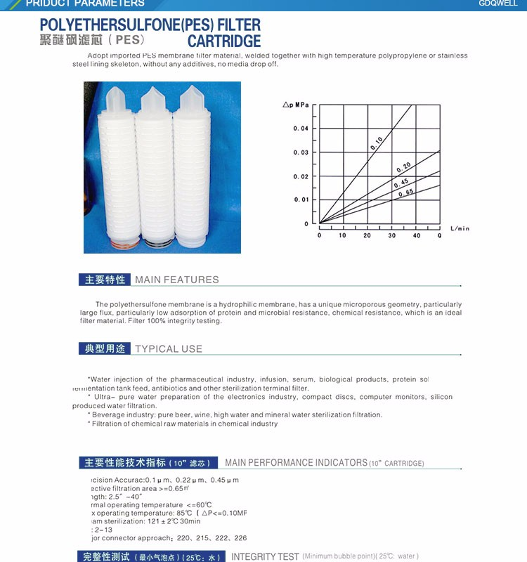 Factory price 50/75/100/200/400GPD 5 micron cartridge filter/PP water filter cartridge