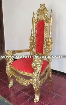 Lion King Throne Chair with Gold Leaf Finish - Hand Carved Royal Mahogany Wood Baroque American English