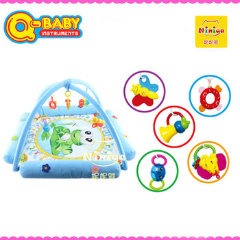 Plush play gym mats,electronic musical play mat with rattles,baby play mat 2015