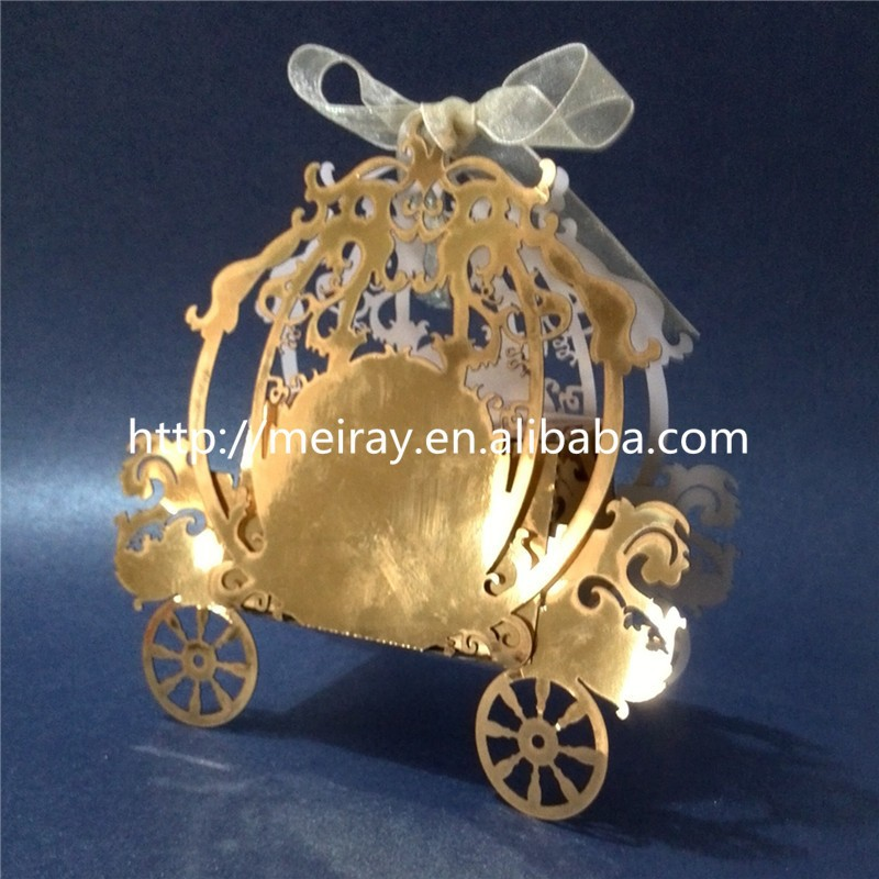 "European style Wedding favors gifts ""Fairy tale carriage"" Laser Cut wedding candy box"