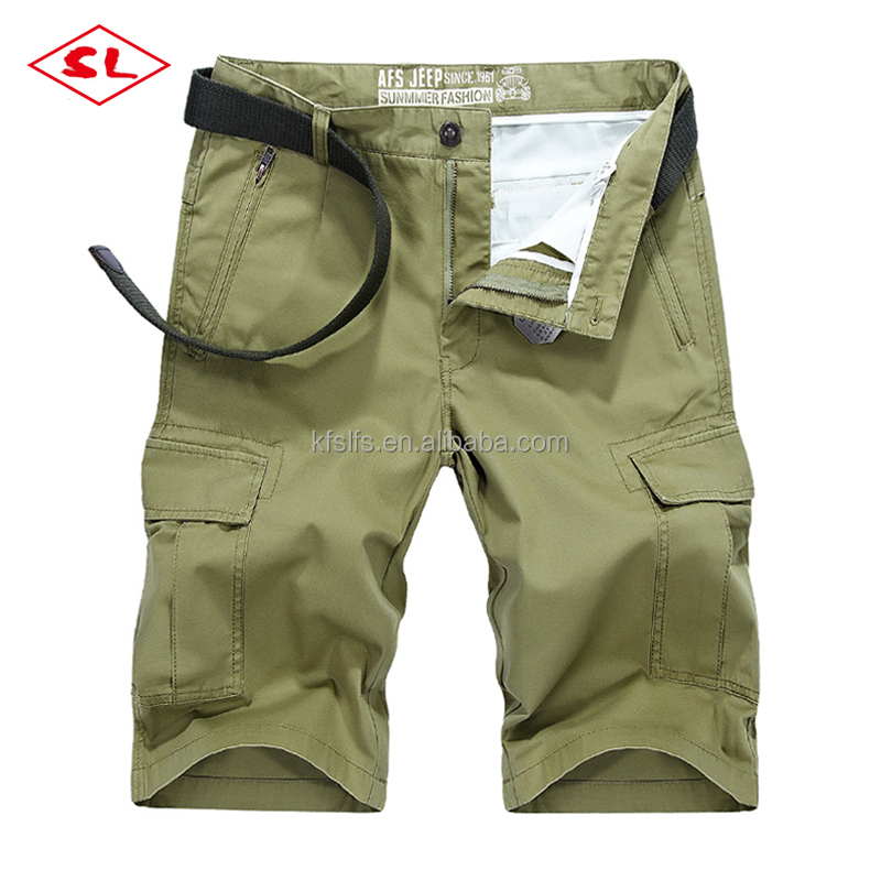woven fabric 100% cotton pure color 6 pockets mens shorts cargo with belt