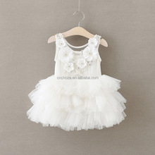 Z93126A 2017 New Collection Handmade Kid's Summer Dress Baby Girl White Lace Tutu Dress