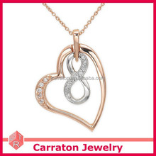 new arrival popular jewelry wax setting 925 silver heart and infinity necklace