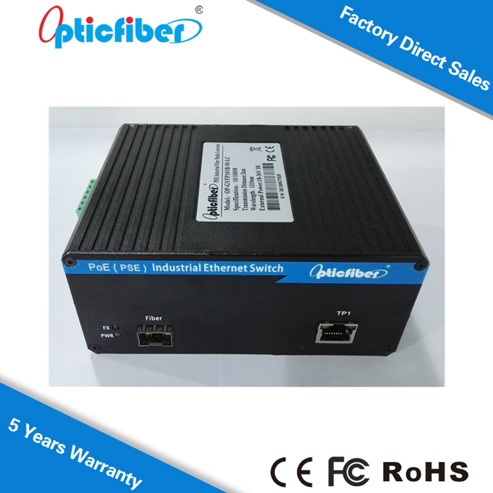 China Alibaba Sale Unmanaged Industrial Fiber Media Converter POE 2 Ports