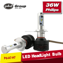 Led auto all in one design car headlight led bulb kit led headlight h7 with 36W 4600 lumens,led headlight bulb h7