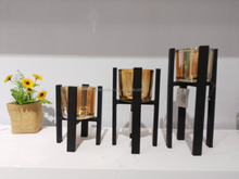 10A161-SET Set 3 different 3 sizes black metal and big glasses candle holders