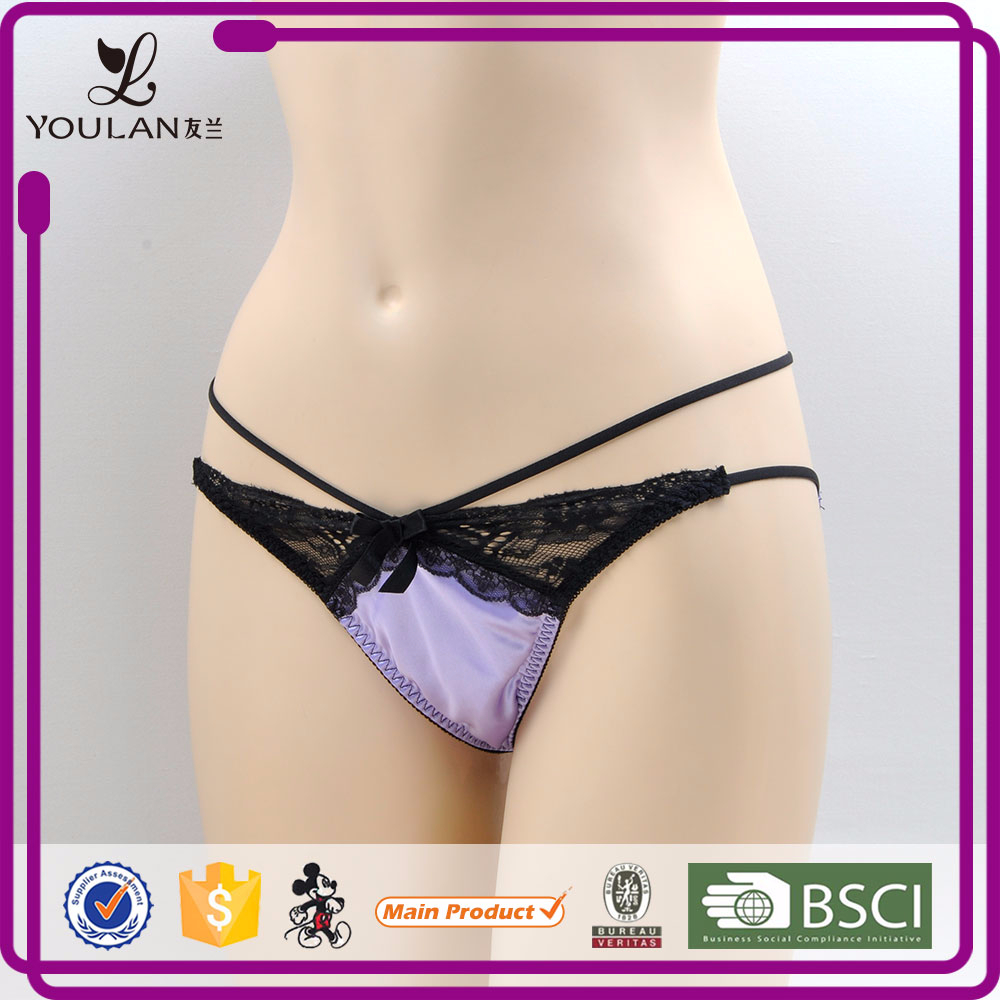 New Arrival Fantasy Hot Girl Black Bowknot Teen Girls Sexy Lingerie Panty