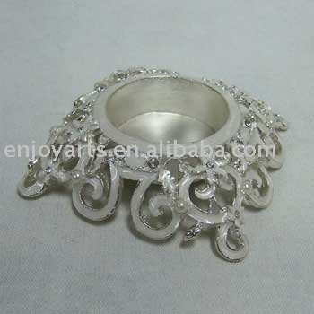 Silver Jeweled Tealight Candle Holder