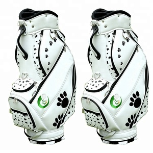 Custom Crytal Top Quality PU Leather Golf Tour Staff Cart Bags