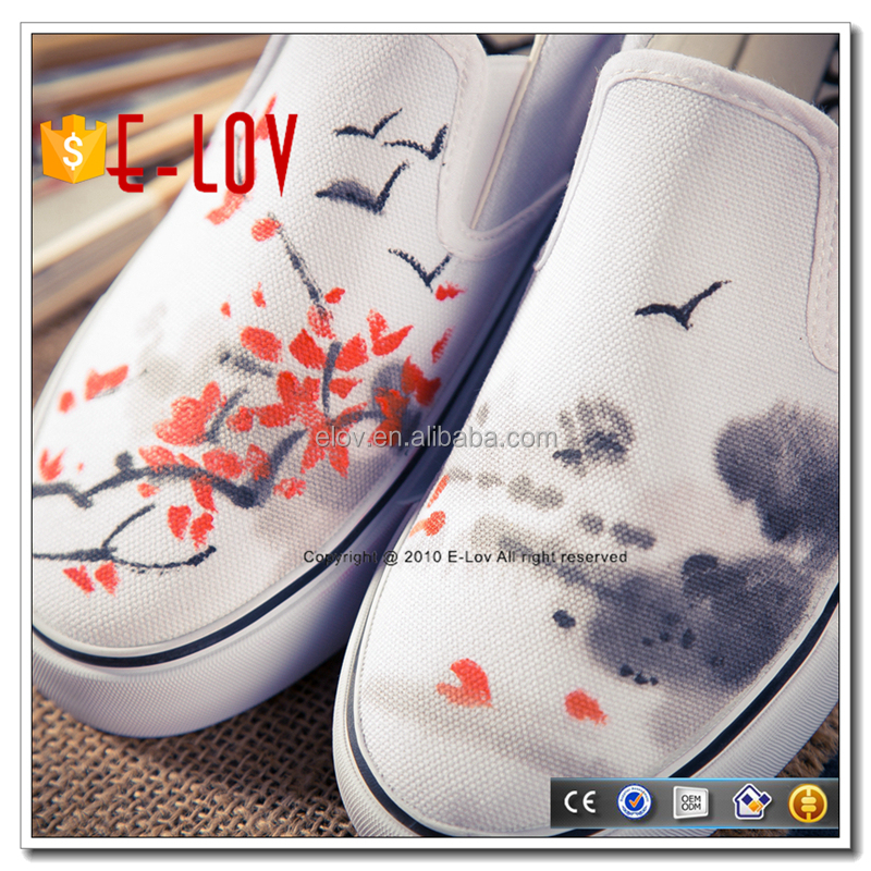 Fashion women canvas loafers hand painted lucky star shoes