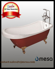 Luxury hot sale tub new design red acrylic freestanding cheap price clawfoot sitting bathtub